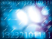 Ruimte bellen die met de aantallen van IT op blauw gloeien Stock Foto's