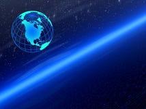 Ruimte. Blauwe planeet Stock Foto