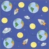 Ruimte, de Aarde van de planetenmoeder, maan en sterren Vector Illustratie