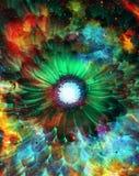 Ruimte en sterren met bloem, de achtergrond van kleurengalaxi, computercollage Royalty-vrije Stock Foto