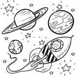 Ruimte exploratie of astronomieobjecten schets Stock Foto's