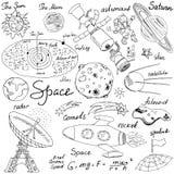 Ruimte geplaatste krabbelspictogrammen Hand getrokken schets met Zonnestelsel, planetenmeteoren en comats, Zon en Maan, radar, as vector illustratie
