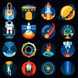 Ruimte geplaatste pictogrammen stock illustratie
