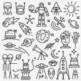 Ruimte geplaatste pictogrammen royalty-vrije illustratie