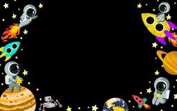 Ruimte horizontaal kader met planeten, astronauten, sterren en raketten royalty-vrije illustratie