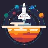 Ruimte illustratie Planeten van Zonnestelsel Stock Afbeeldingen