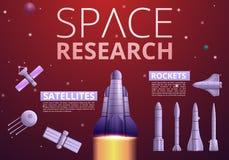 Ruimte infographic onderzoektechnologie, beeldverhaalstijl vector illustratie