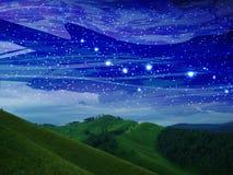 Ruimte landschap Blauwe hemel Stock Afbeeldingen