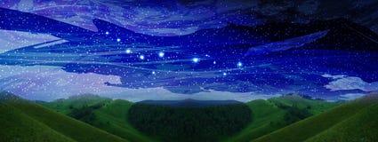 Ruimte landschap constellaties Stock Afbeeldingen