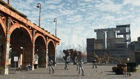 Ruimte Marine die - de rand van de stad patrouilleren Stock Afbeelding