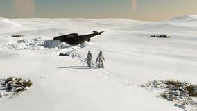 Ruimte Marine - neerstorting die in de sneeuw landt vector illustratie