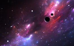 Ruimte met nevel, planeten en sterren vector illustratie