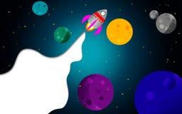 Ruimte met raket en planeten stock illustratie