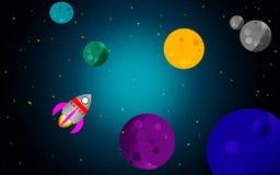 Ruimte met raket en planeten vector illustratie