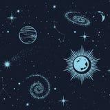 Ruimte naadloos patroon, mooie melkweg, sterren, planeten, constellaties in kosmische ruimte Textuur voor behang, stof, omslag, W vector illustratie