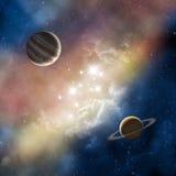 Ruimte nevel met planeten stock illustratie