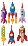 Ruimte retro raketschepen Stock Afbeelding