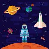 Ruimte, ruimteschip, astronaut, en planeten Royalty-vrije Stock Afbeelding