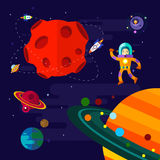 Ruimte, ruimteschip, astronaut, en planeten Royalty-vrije Stock Afbeeldingen