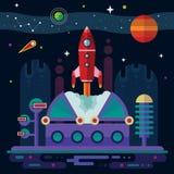 Ruimte, ruimteschip, post en planeten Royalty-vrije Stock Foto