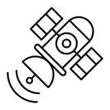 Ruimte satelliet dun lijnpictogram Spoetnik vectordieillustratie op wit wordt geïsoleerd De stijlontwerp van het telecommunicatie vector illustratie