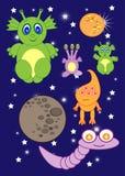 Ruimte van beeldverhaal de leuke monsters van astronauten vreemdelingen Raket planeten kometen Vector Royalty-vrije Stock Foto