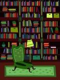 Ruimte van de beeldverhaal de Vlakke binnenlandse bibliotheek of de vectorillustratie van de bureaupsycholoog Royalty-vrije Stock Afbeeldingen