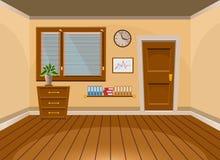 Ruimte van het beeldverhaal de vlakke vector binnenlandse bureau in beige stijl Stock Afbeelding