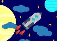 Ruimte vectorbeeld of achtergrond Lanceringsraketten tegen de achtergrond van de hemel en de hemellichamen Vlak Ontwerp Royalty-vrije Stock Foto
