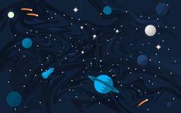 Ruimte vlakke achtergrond met planeten en sterren stock illustratie