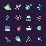 Ruimte vlakke pictogrammen Van de aardezon en planeten van het telescoop satellietruimteschip meningen van waarnemingscentrum vec stock illustratie