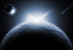 Ruimteachtergrond met fictieve planeten vector illustratie