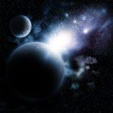 Ruimteachtergrond met fictieve planeten stock illustratie