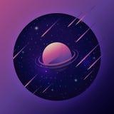 Ruimteachtergrond met kleurrijke planeet en meteoor Royalty-vrije Stock Fotografie