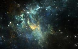 Ruimteachtergrond met nevel en sterren Stock Afbeeldingen