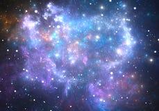 Ruimteachtergrond met nevel en sterren Stock Foto's