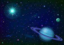 Ruimteachtergrond met planeet en zon Royalty-vrije Stock Foto