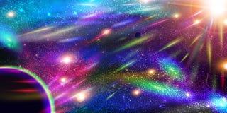 Ruimteachtergrond met planeten, stardust en meteorieten Stock Foto