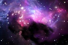 Ruimteachtergrond met purpere nevel en sterren Stock Foto's