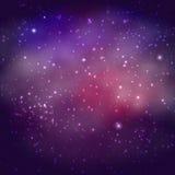 Ruimteachtergrond met sterren en nevel Stock Afbeeldingen
