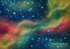 Ruimteachtergrond met sterren en nevel Stock Afbeelding