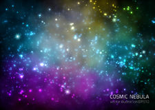 Ruimteachtergrond met sterren en nevel Stock Foto's