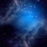 Ruimteachtergrond van blauwe kleur Stock Foto's
