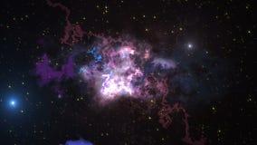 Ruimteanimatieachtergrond met nevel, sterren De Melkweg, de Melkweg en de Nevel stock illustratie