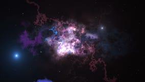 Ruimteanimatieachtergrond met nevel, sterren De Melkweg, de Melkweg en de Nevel vector illustratie