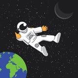 Ruimtebanner met astonaut, aarde en maan Stock Foto's