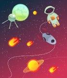 Ruimtebanner met planeten, sterren stock illustratie