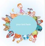 Ruimtebanners of Referenties, hand getrokken vectorillustratie Stock Afbeelding