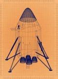 Ruimtecapsule - Retro Blauwdruk royalty-vrije illustratie