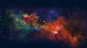 Ruimteillustratie, met kleurengloed en sterren Royalty-vrije Stock Afbeeldingen